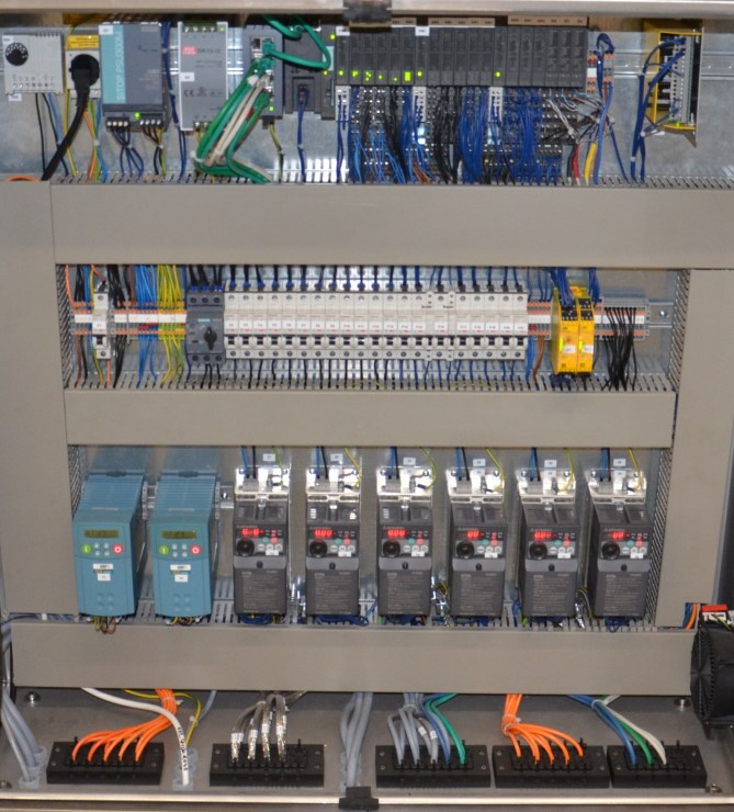 Control cabinet with power distribution and PLC